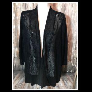 Alfani Black Crochet Open Cardigan